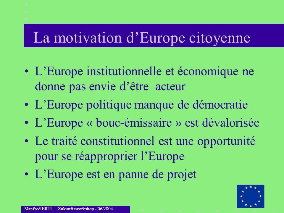 Manfred ERTL – Zukunftsworkshop - 06/2004 La motivation dEurope citoyenne LEurope institutionnelle et économique ne donne pas envie dêtre acteur LEuro