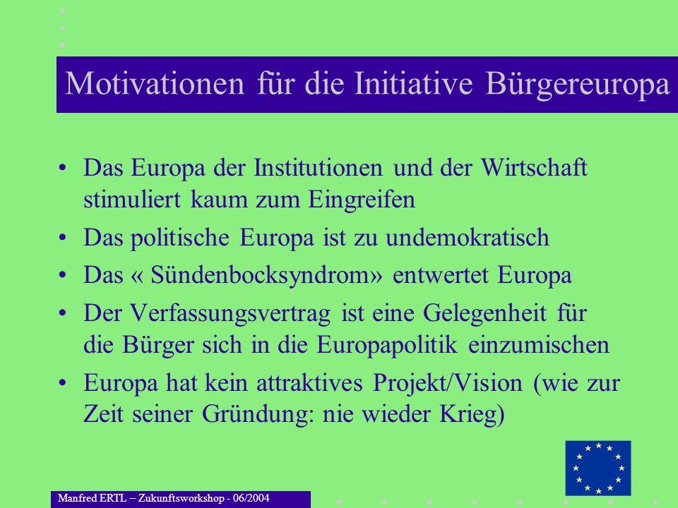 Manfred ERTL – Zukunftsworkshop - 06/2004 Motivationen für die Initiative Bürgereuropa Das Europa der Institutionen und der Wirtschaft stimuliert kaum