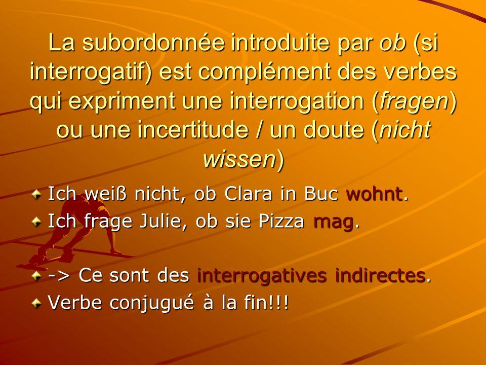 La subordonnée introduite par ob (si interrogatif) est complément des verbes qui expriment une interrogation (fragen) ou une incertitude / un doute (nicht wissen) Ich weiß nicht, ob Clara in Buc wohnt.