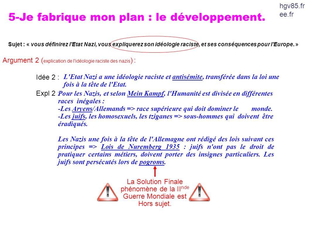 5-Je fabrique mon plan : le développement. Sujet : « vous définirez l'Etat Nazi, vous expliquerez son idéologie raciste, et ses conséquences pour l'Eu