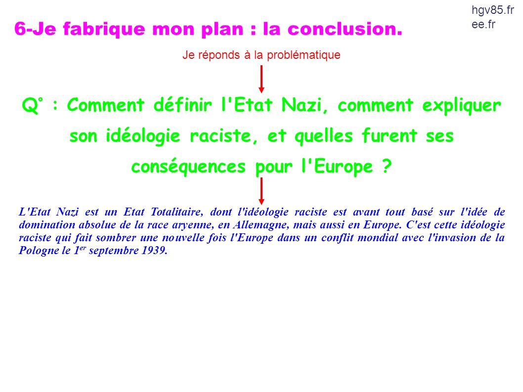 6-Je fabrique mon plan : la conclusion. Je réponds à la problématique Q° : Comment définir l'Etat Nazi, comment expliquer son idéologie raciste, et qu