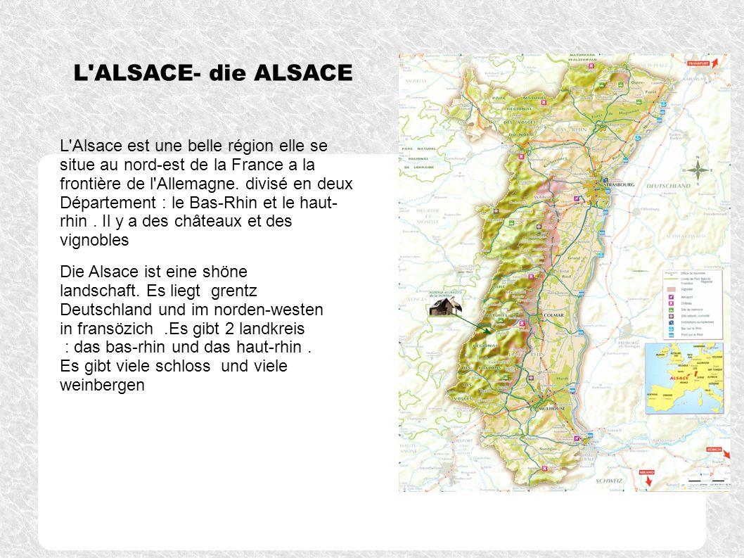 L'ALSACE- die ALSACE L'Alsace est une belle région elle se situe au nord-est de la France a la frontière de l'Allemagne. divisé en deux Département :