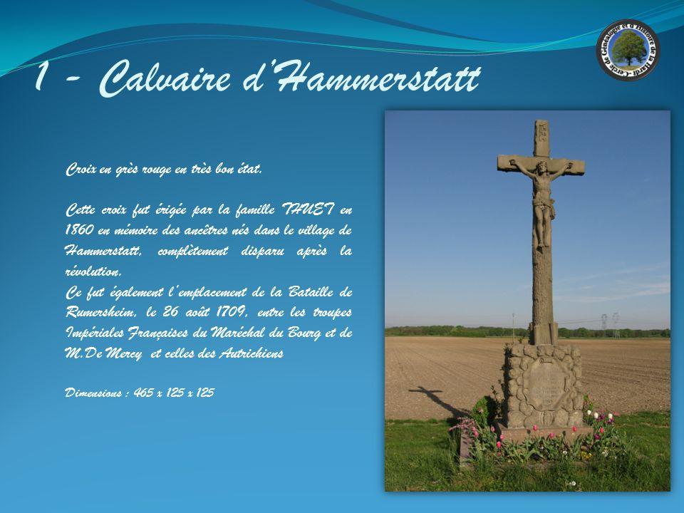 7 - Calvaire Krütenauerweg Sous le Christ sont gravées MST et 1698 Sur le socle on distingue l inscription suivante : JESUS NOSTRA SALVUS DOMINUS MORTUES L783