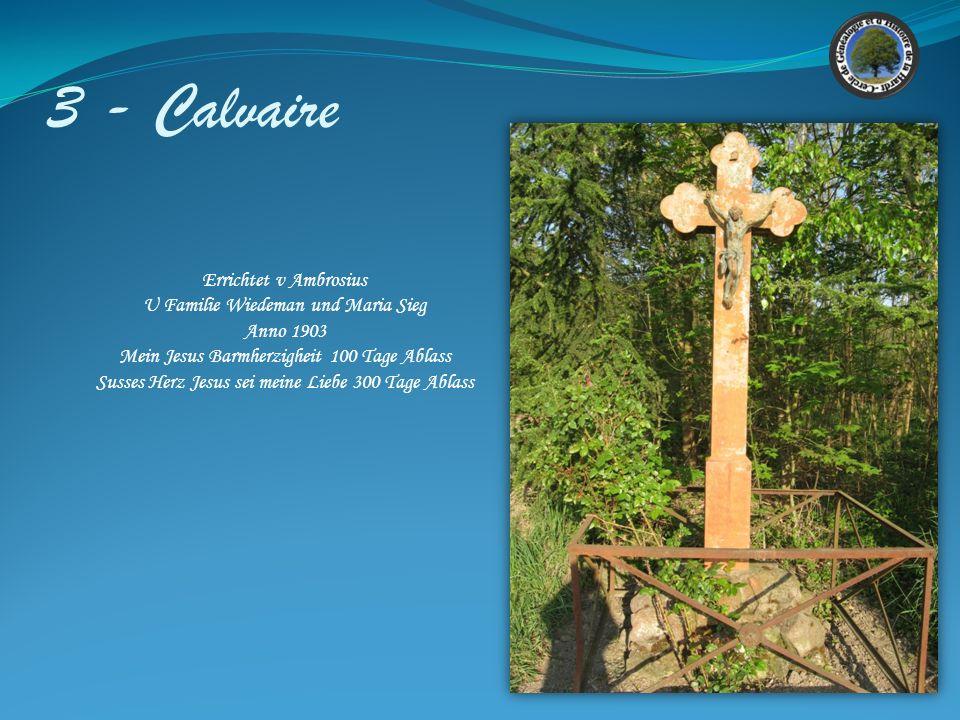 3 - Calvaire Croix Située vers la sortie Sud du village. En grès Gris en état satisfaisant. Le Christ est en fonte. Ce calvaire est peint. Une tête de