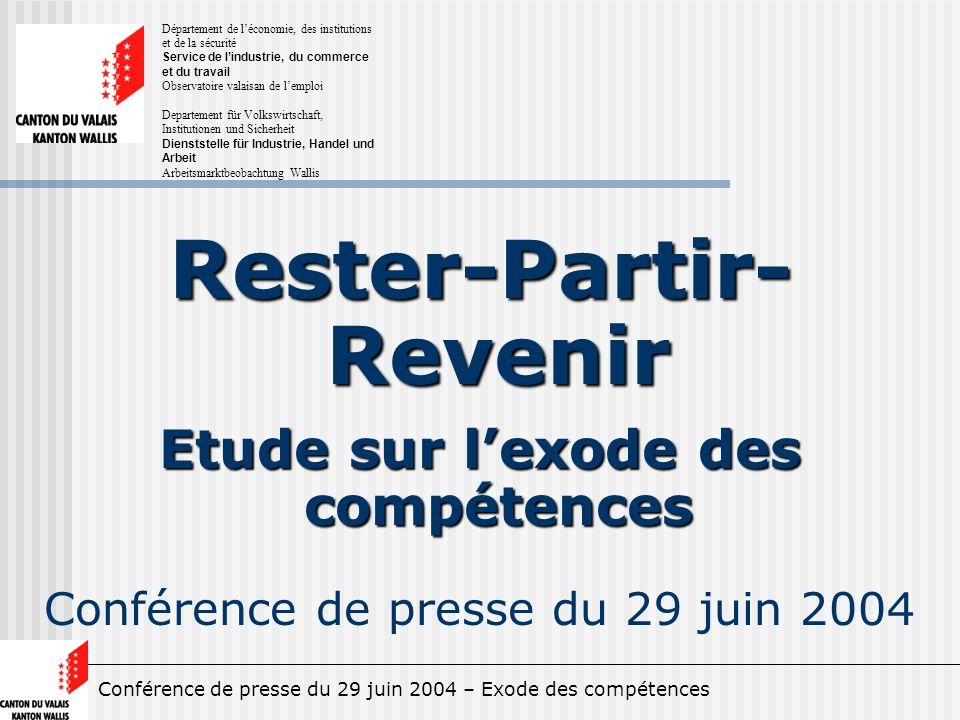 Conférence de presse du 29 juin 2004 – Exode des compétences Rester-Partir- Revenir Etude sur lexode des compétences Conférence de presse du 29 juin 2