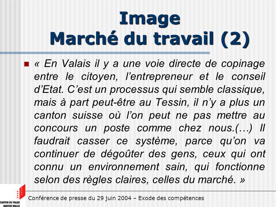 Conférence de presse du 29 juin 2004 – Exode des compétences Image Marché du travail (2) « En Valais il y a une voie directe de copinage entre le citoyen, lentrepreneur et le conseil dEtat.