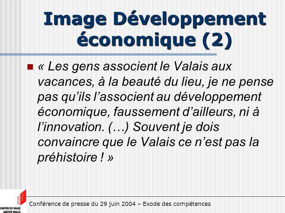 Conférence de presse du 29 juin 2004 – Exode des compétences Image Développement économique (2) « Les gens associent le Valais aux vacances, à la beauté du lieu, je ne pense pas quils lassocient au développement économique, faussement dailleurs, ni à linnovation.