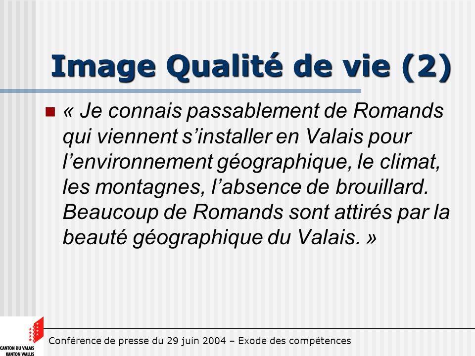 Conférence de presse du 29 juin 2004 – Exode des compétences Image Qualité de vie (2) « Je connais passablement de Romands qui viennent sinstaller en Valais pour lenvironnement géographique, le climat, les montagnes, labsence de brouillard.