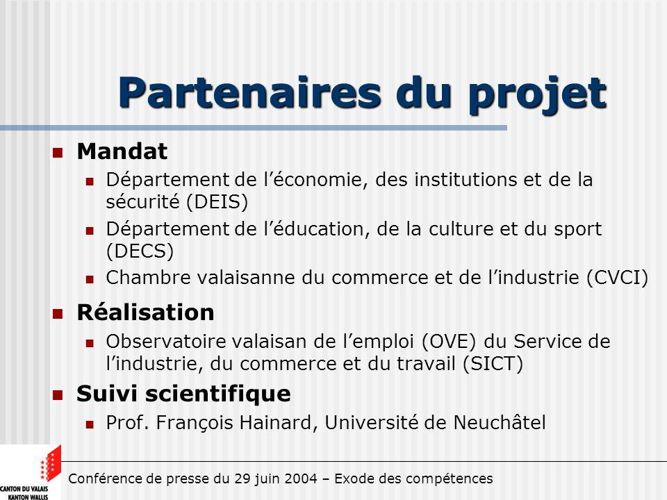 Conférence de presse du 29 juin 2004 – Exode des compétences Partenaires du projet Mandat Département de léconomie, des institutions et de la sécurité