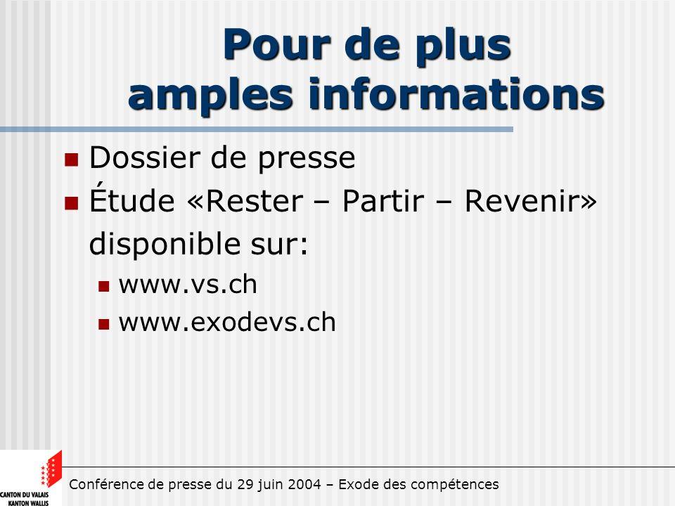 Conférence de presse du 29 juin 2004 – Exode des compétences Pour de plus amples informations Dossier de presse Étude «Rester – Partir – Revenir» disponible sur: www.vs.ch www.exodevs.ch