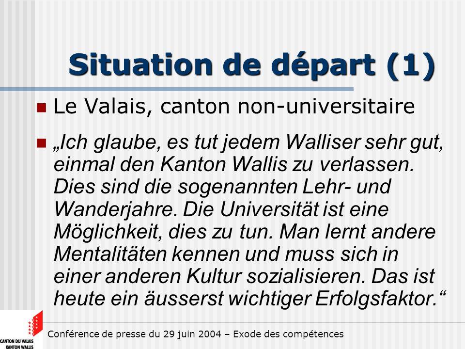 Conférence de presse du 29 juin 2004 – Exode des compétences Situation de départ (1) Le Valais, canton non-universitaire Ich glaube, es tut jedem Walliser sehr gut, einmal den Kanton Wallis zu verlassen.