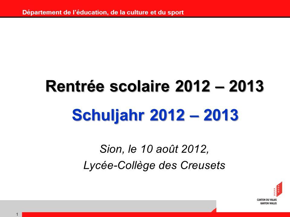 Département de léducation, de la culture et du sport 1 Rentrée scolaire 2012 – 2013 Schuljahr 2012 – 2013 Sion, le 10 août 2012, Lycée-Collège des Creusets