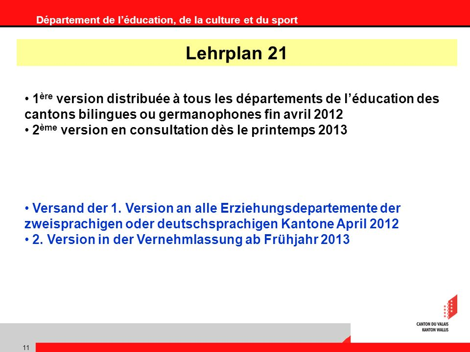 Département de léducation, de la culture et du sport 11 1 ère version distribuée à tous les départements de léducation des cantons bilingues ou germanophones fin avril 2012 2 ème version en consultation dès le printemps 2013 Versand der 1.