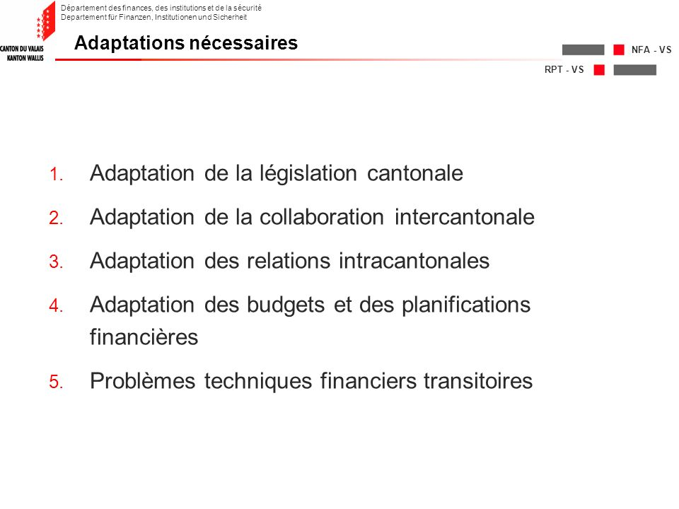 RPT - VS NFA - VS Département des finances, des institutions et de la sécurité Departement für Finanzen, Institutionen und Sicherheit 1. Adaptation de