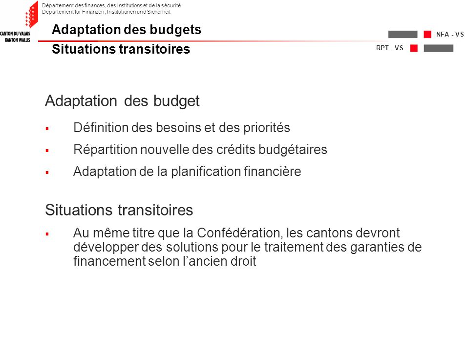 RPT - VS NFA - VS Département des finances, des institutions et de la sécurité Departement für Finanzen, Institutionen und Sicherheit Adaptation des b