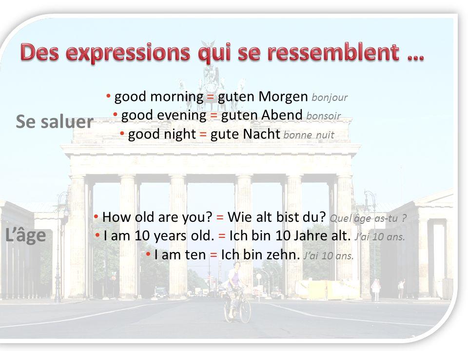 good morning = guten Morgen bonjour good evening = guten Abend bonsoir good night = gute Nacht bonne nuit Se saluer Lâge How old are you? = Wie alt bi