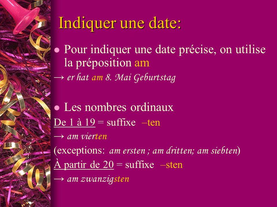 Indiquer une date: l Pour indiquer une date précise, on utilise la préposition am er hat am 8.