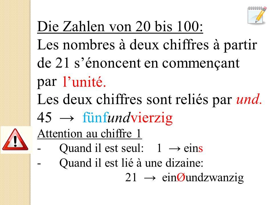Die Zahlen von 20 bis 100: Les nombres à deux chiffres à partir de 21 sénoncent en commençant par Les deux chiffres sont reliés par 45 fünfundvierzig