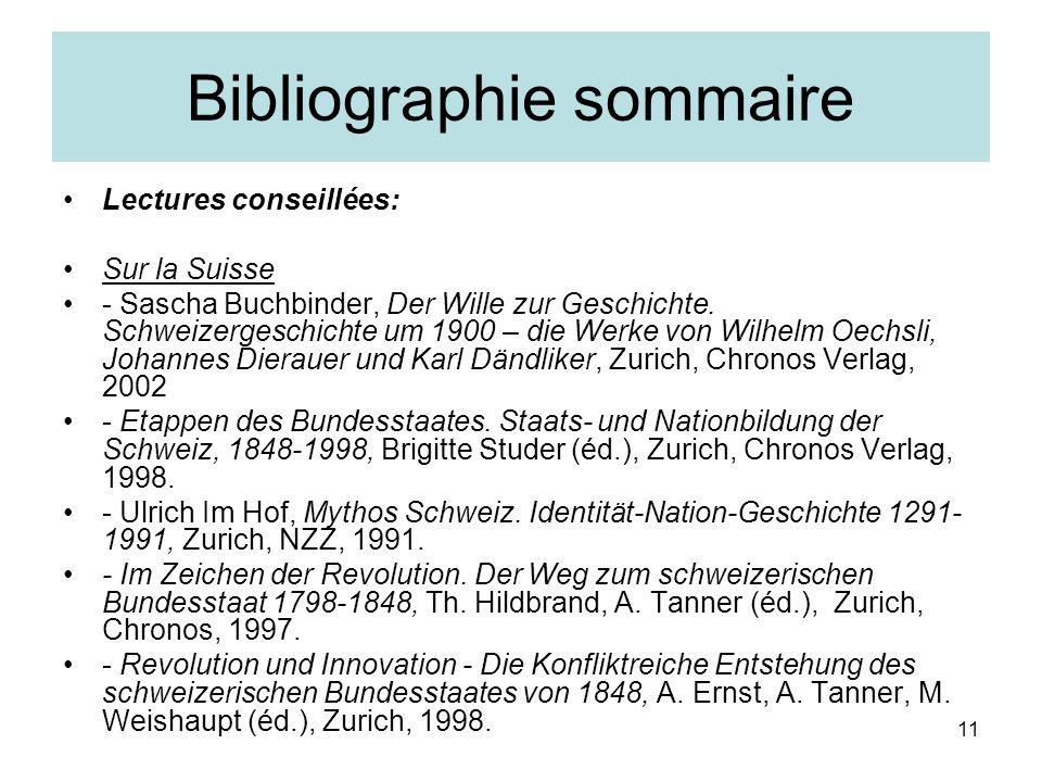 11 Bibliographie sommaire Lectures conseillées: Sur la Suisse - Sascha Buchbinder, Der Wille zur Geschichte.
