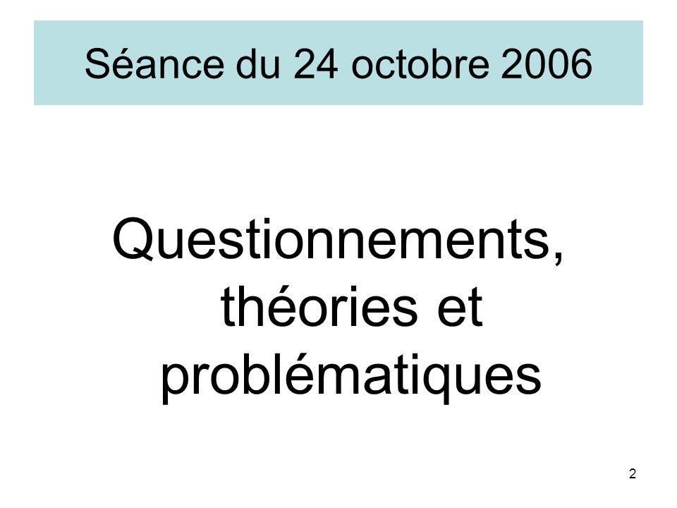 2 Séance du 24 octobre 2006 Questionnements, théories et problématiques