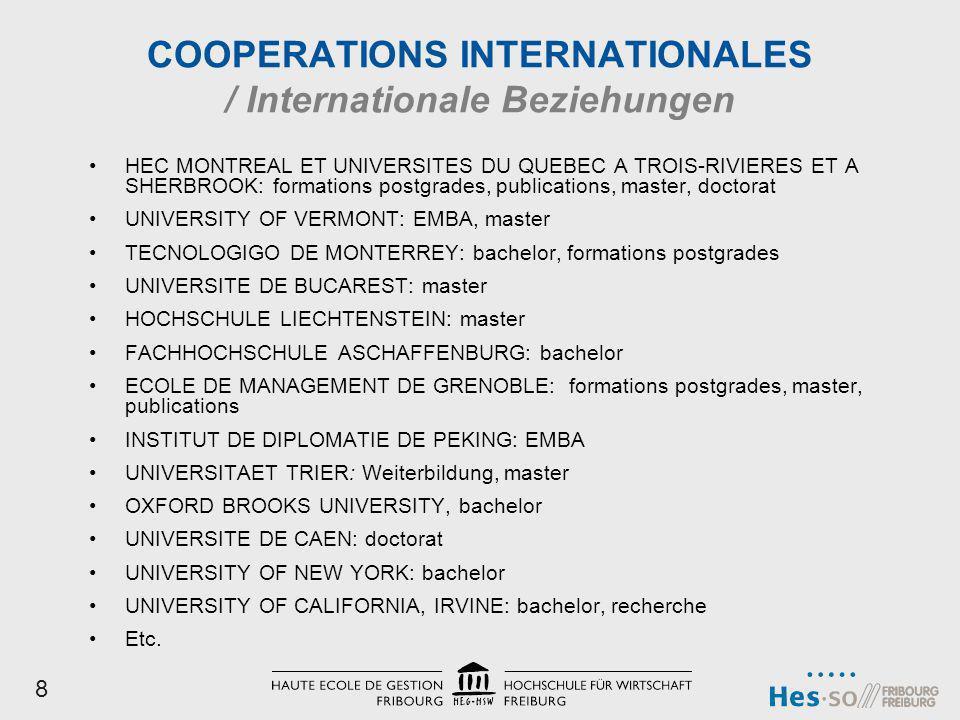 COOPERATIONS INTERNATIONALES / Internationale Beziehungen HEC MONTREAL ET UNIVERSITES DU QUEBEC A TROIS-RIVIERES ET A SHERBROOK: formations postgrades
