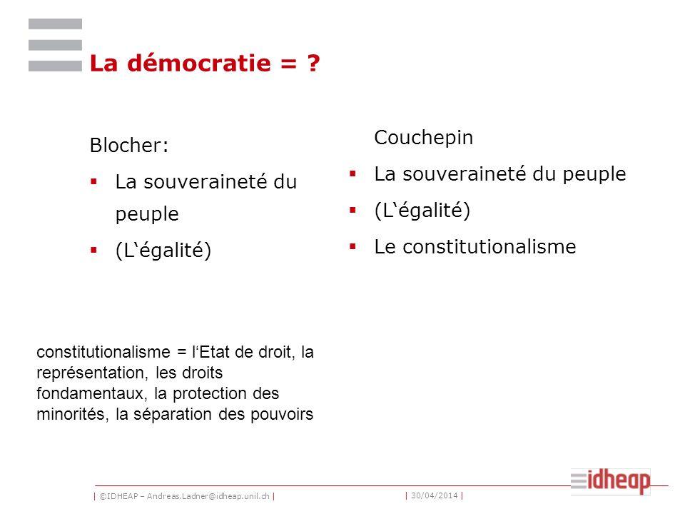 | ©IDHEAP – Andreas.Ladner@idheap.unil.ch | | 30/04/2014 | La démocratie = ? Blocher: La souveraineté du peuple (Légalité) Couchepin La souveraineté d