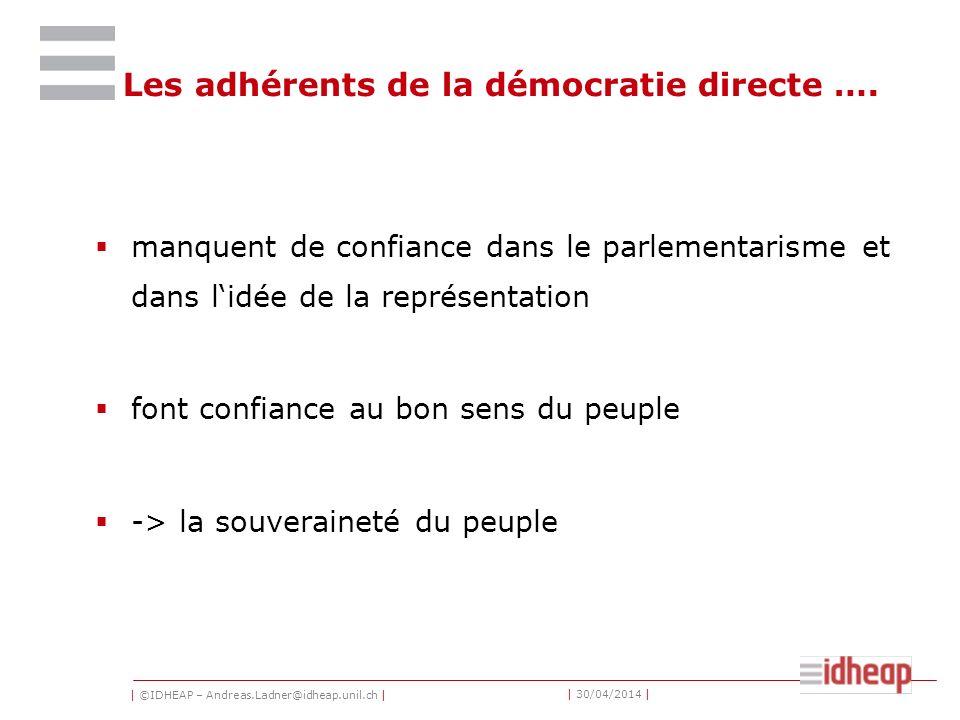   ©IDHEAP – Andreas.Ladner@idheap.unil.ch     30/04/2014   La souveraineté du peuple La démocratie directe est basée sur lidée de la souveraineté du peuple et de lautodétermination (autogestion) comme Rousseau le mentionnait.
