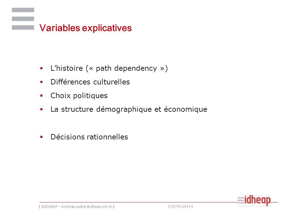 | ©IDHEAP – Andreas.Ladner@idheap.unil.ch | | 30/04/2014 | Variables explicatives Lhistoire (« path dependency ») Différences culturelles Choix politiques La structure démographique et économique Décisions rationnelles