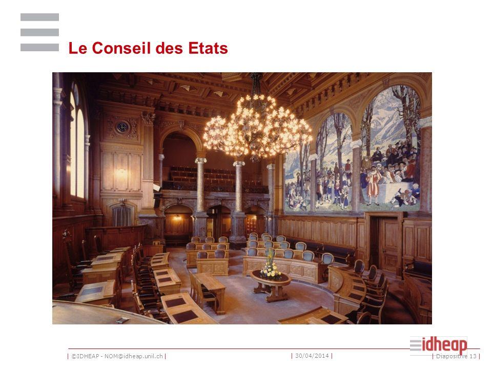| ©IDHEAP - NOM@idheap.unil.ch | | 30/04/2014 | Le Conseil des Etats | Diapositive 13 |