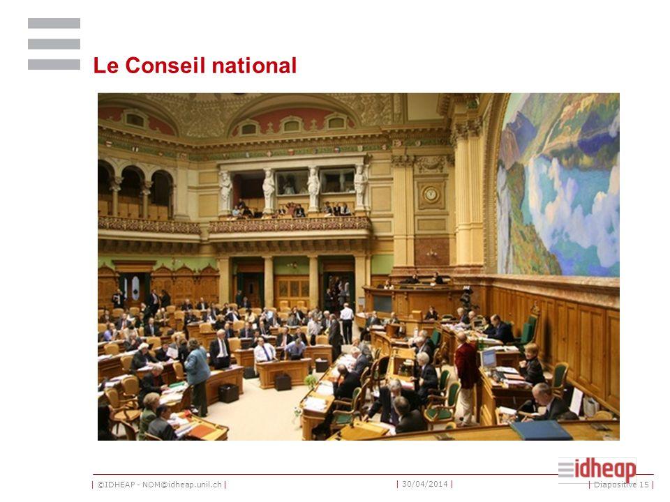 | ©IDHEAP - NOM@idheap.unil.ch | | 30/04/2014 | Le Conseil national | Diapositive 15 |