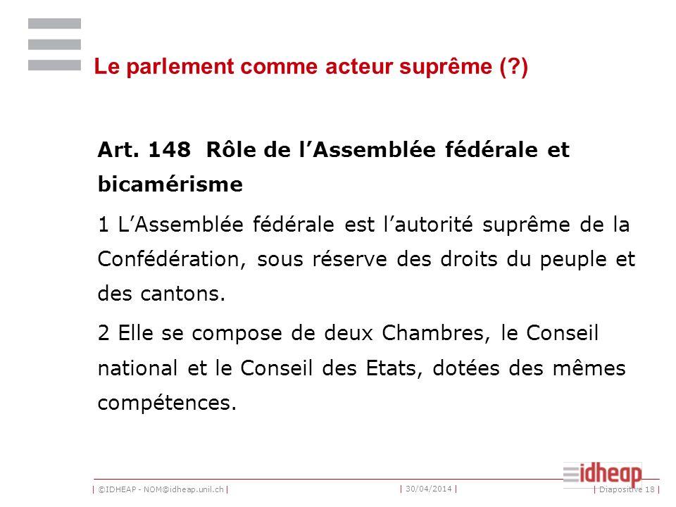 | ©IDHEAP - NOM@idheap.unil.ch | | 30/04/2014 | Le parlement comme acteur suprême (?) Art.