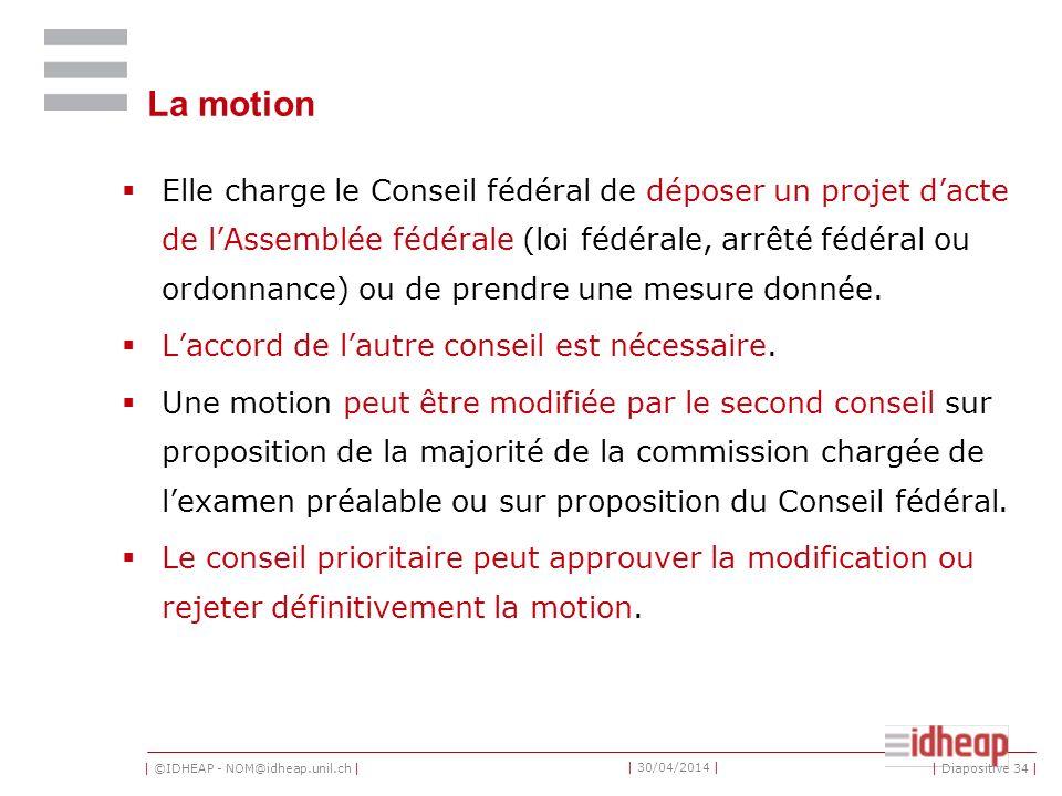 | ©IDHEAP - NOM@idheap.unil.ch | | 30/04/2014 | La motion Elle charge le Conseil fédéral de déposer un projet dacte de lAssemblée fédérale (loi fédérale, arrêté fédéral ou ordonnance) ou de prendre une mesure donnée.