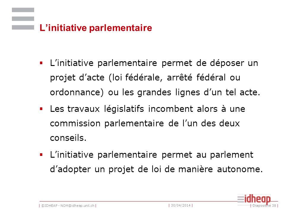 | ©IDHEAP - NOM@idheap.unil.ch | | 30/04/2014 | Linitiative parlementaire Linitiative parlementaire permet de déposer un projet dacte (loi fédérale, arrêté fédéral ou ordonnance) ou les grandes lignes dun tel acte.