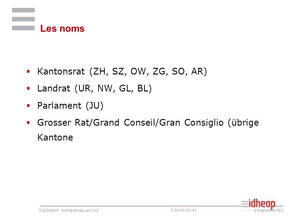| ©IDHEAP - NOM@idheap.unil.ch | | 30/04/2014 | Les noms Kantonsrat (ZH, SZ, OW, ZG, SO, AR) Landrat (UR, NW, GL, BL) Parlament (JU) Grosser Rat/Grand Conseil/Gran Consiglio (übrige Kantone | Diapositive 55 |
