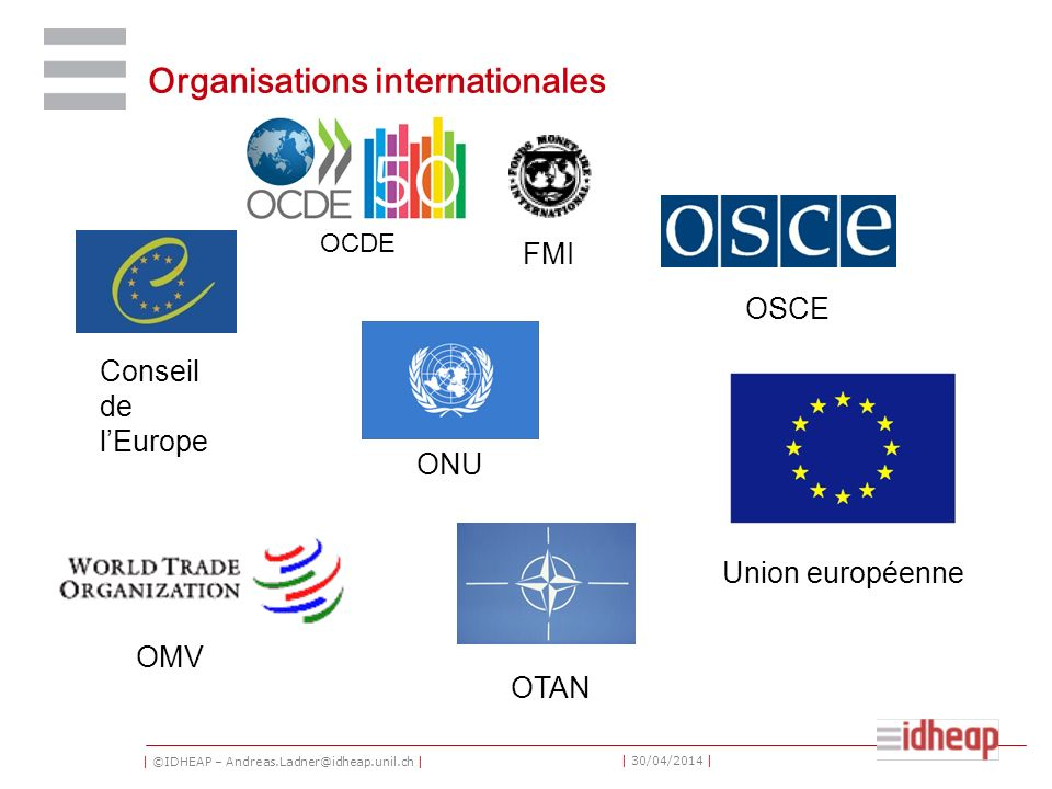 | ©IDHEAP – Andreas.Ladner@idheap.unil.ch | | 30/04/2014 | Organisations internationales Conseil de lEurope Union européenne ONU OTAN OSCE OMV OCDE FM
