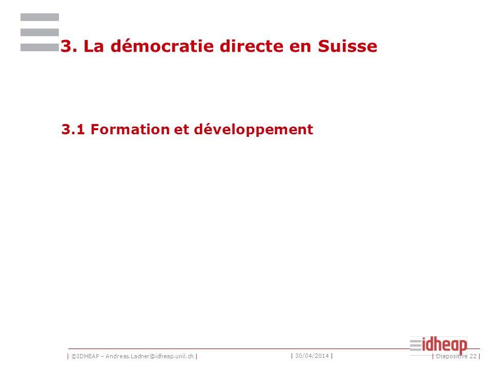 | ©IDHEAP – Andreas.Ladner@idheap.unil.ch | | 30/04/2014 | 3. La démocratie directe en Suisse 3.1 Formation et développement | Diapositive 22 |