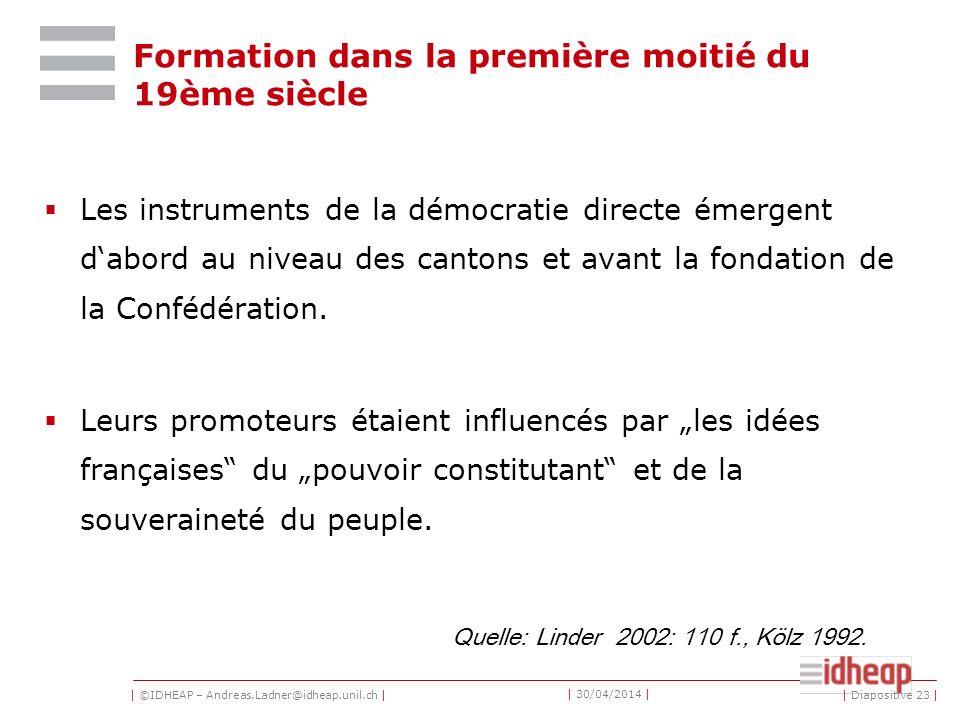 | ©IDHEAP – Andreas.Ladner@idheap.unil.ch | | 30/04/2014 | Formation dans la première moitié du 19ème siècle Les instruments de la démocratie directe