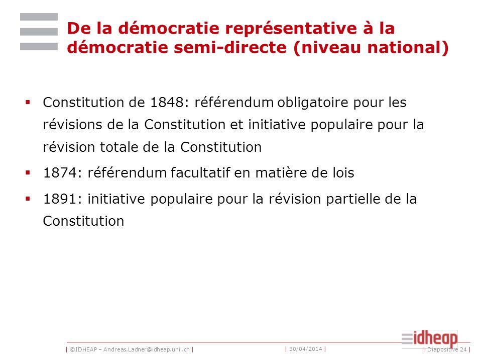 | ©IDHEAP – Andreas.Ladner@idheap.unil.ch | | 30/04/2014 | De la démocratie représentative à la démocratie semi-directe (niveau national) Constitution