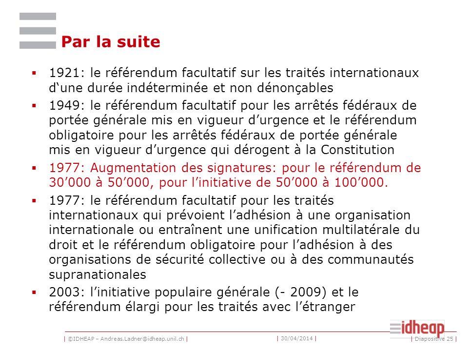 | ©IDHEAP – Andreas.Ladner@idheap.unil.ch | | 30/04/2014 | Par la suite 1921: le référendum facultatif sur les traités internationaux dune durée indét