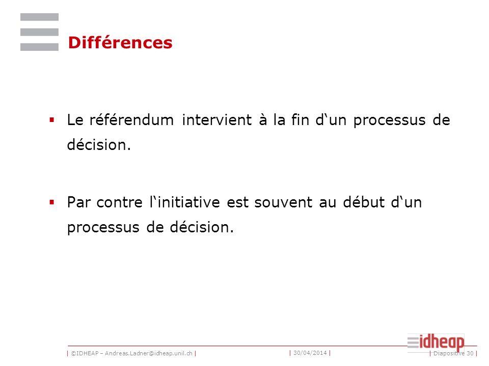 | ©IDHEAP – Andreas.Ladner@idheap.unil.ch | | 30/04/2014 | Différences Le référendum intervient à la fin dun processus de décision. Par contre linitia