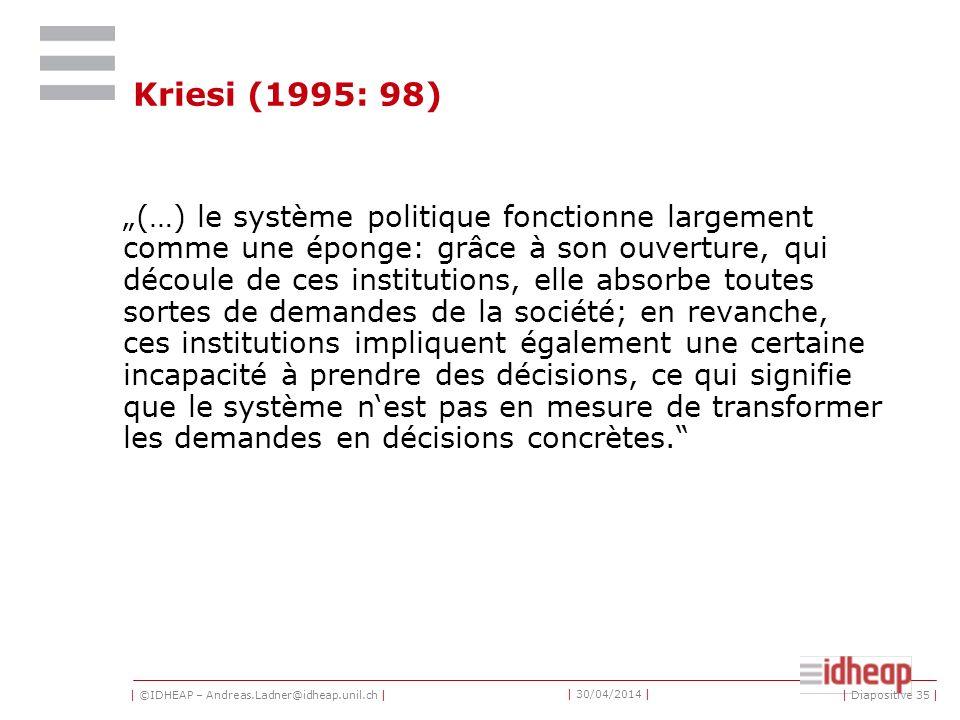 | ©IDHEAP – Andreas.Ladner@idheap.unil.ch | | 30/04/2014 | Kriesi (1995: 98) (…) le système politique fonctionne largement comme une éponge: grâce à s