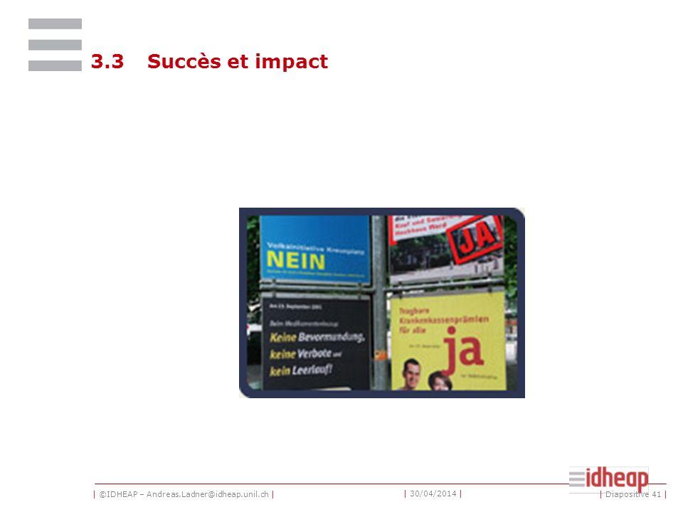 | ©IDHEAP – Andreas.Ladner@idheap.unil.ch | | 30/04/2014 | 3.3Succès et impact | Diapositive 41 |