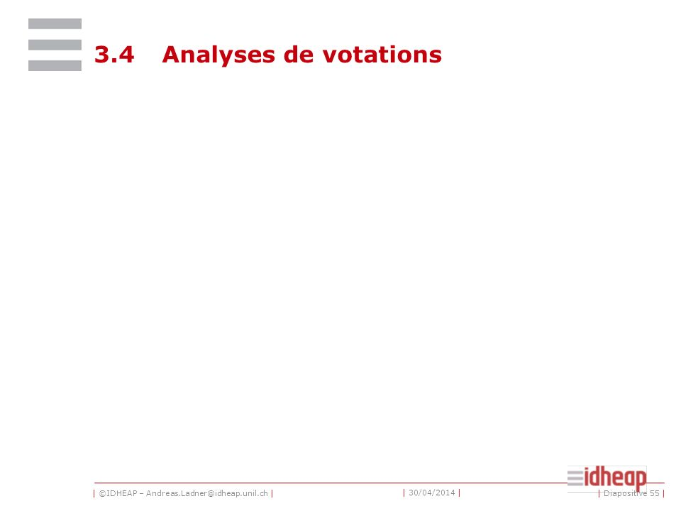 | ©IDHEAP – Andreas.Ladner@idheap.unil.ch | | 30/04/2014 | 3.4Analyses de votations | Diapositive 55 |