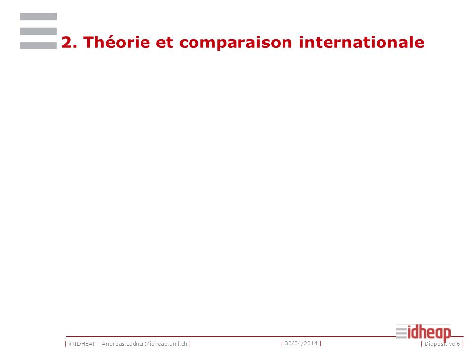 | ©IDHEAP – Andreas.Ladner@idheap.unil.ch | | 30/04/2014 | 2. Théorie et comparaison internationale | Diapositive 6 |