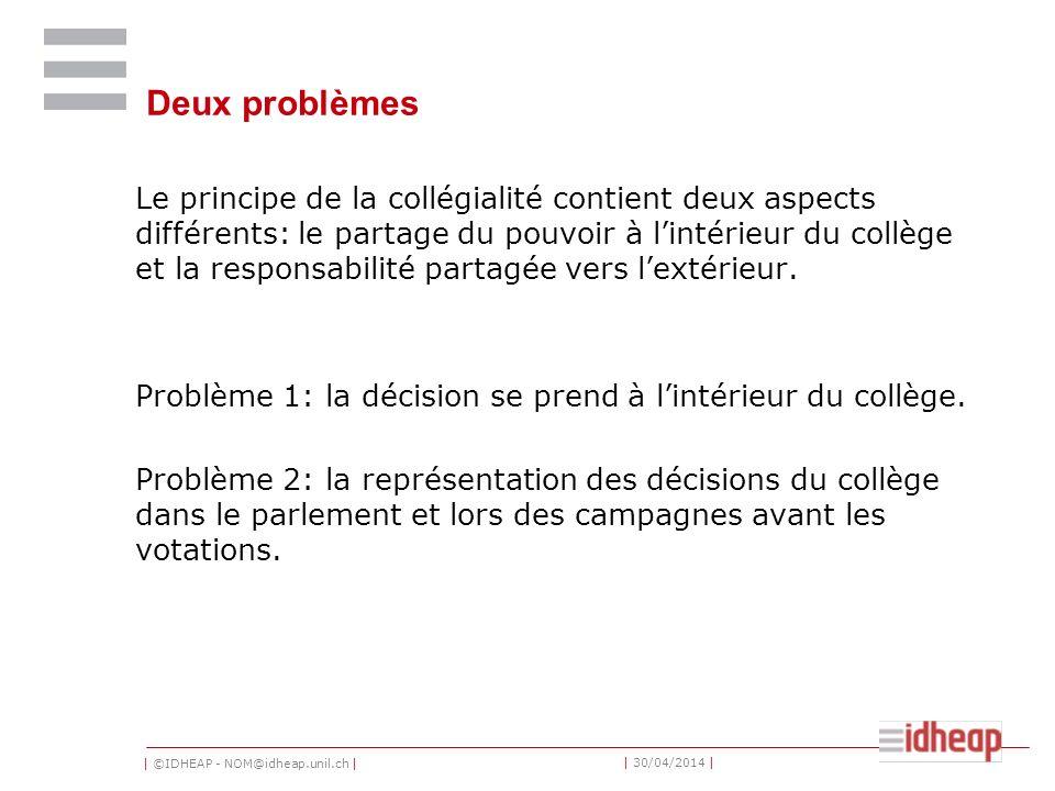 | ©IDHEAP - NOM@idheap.unil.ch | | 30/04/2014 | Deux problèmes Le principe de la collégialité contient deux aspects différents: le partage du pouvoir
