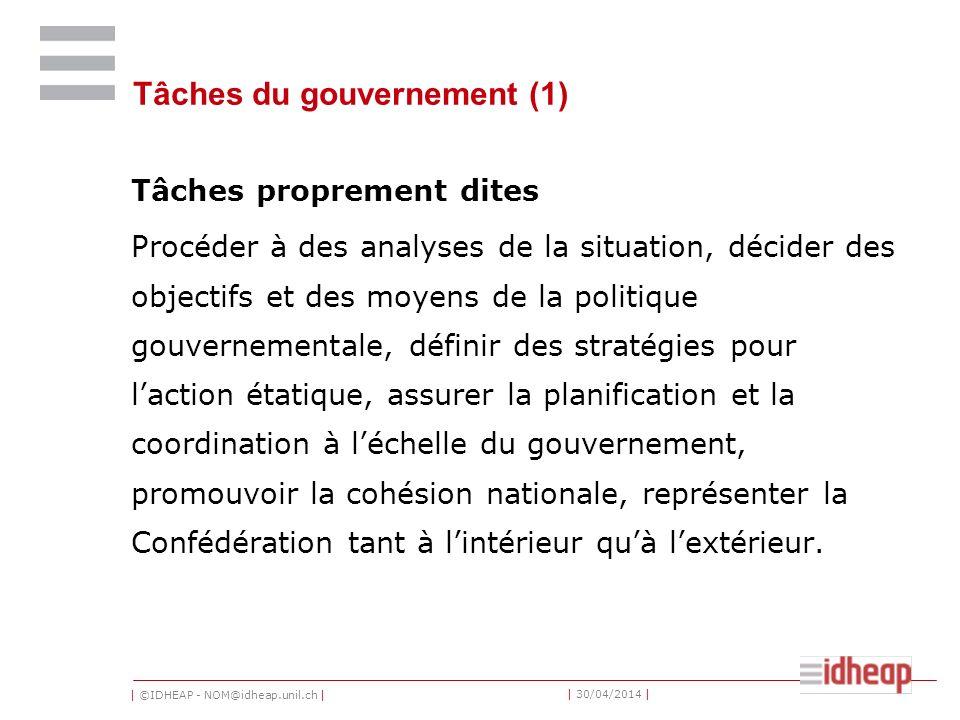 | ©IDHEAP - NOM@idheap.unil.ch | | 30/04/2014 | Tâches du gouvernement (1) Tâches proprement dites Procéder à des analyses de la situation, décider de