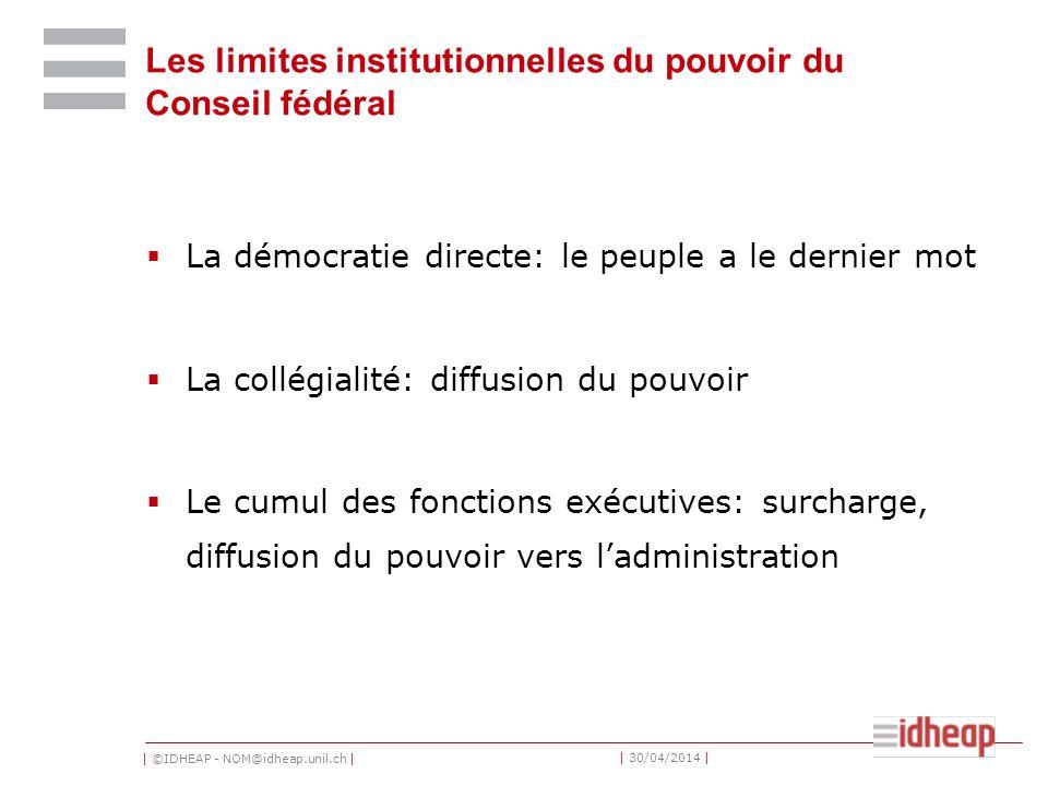 | ©IDHEAP - NOM@idheap.unil.ch | | 30/04/2014 | Les limites institutionnelles du pouvoir du Conseil fédéral La démocratie directe: le peuple a le dern