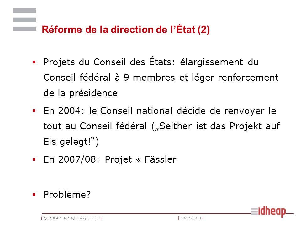 | ©IDHEAP - NOM@idheap.unil.ch | | 30/04/2014 | Réforme de la direction de lÉtat (2) Projets du Conseil des États: élargissement du Conseil fédéral à
