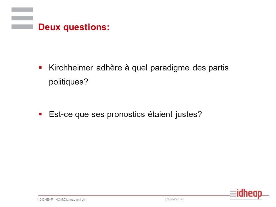   ©IDHEAP - NOM@idheap.unil.ch     30/04/2014   Deux questions: Kirchheimer adhère à quel paradigme des partis politiques.