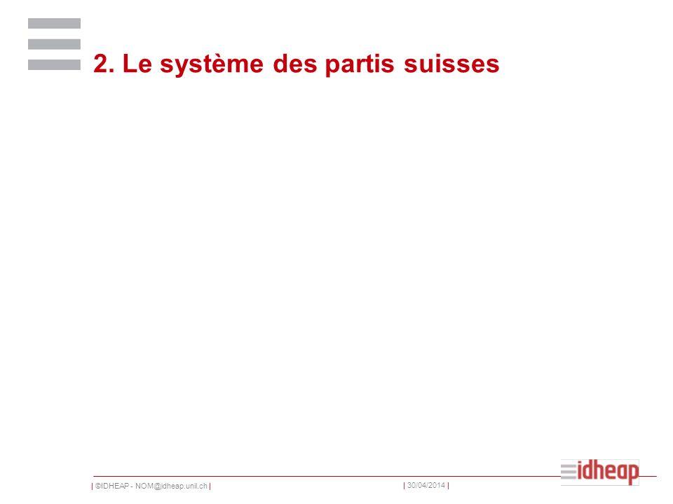 | ©IDHEAP - NOM@idheap.unil.ch | | 30/04/2014 | 2. Le système des partis suisses
